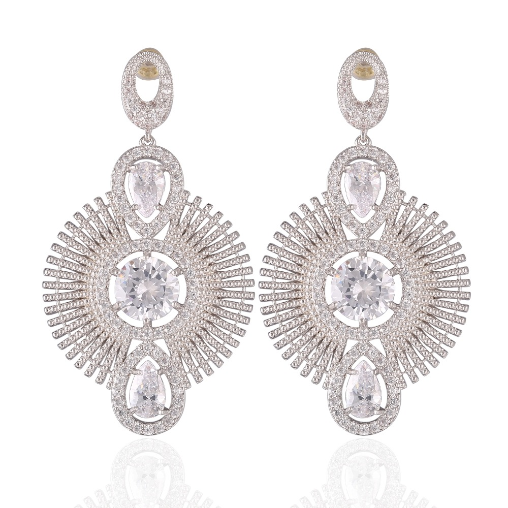 GrayBirds New Romantic Plant Flower Earrings For Office Lady Rhodium Plated High Quality AAA CZ Jewelry For Women XYE031